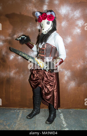 Manchester. 31st March 2018.  Post apocalyptic time travellers meet up for a weekend at the asylum as the four day steampunk convention gets under way at the Bowlers Exhibition Centre in Greater Manchester.  Credit: Cernan Elias/Alamy Live News - Stock Photo