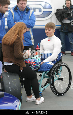 Cheshire, UK, 31 Mar 2018. 18 year old Billy Monger racing at Oulton Park, for the first time since the accident in whuich he lost his legs. Credit: Ian Simpson/Alamy Live News - Stock Photo