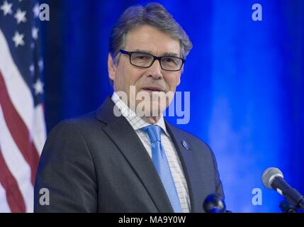 United States Department of Energy Secretary Rick Perry, photographed from the chest up, standing in front of a microphone, at the National Laboratories Big Idea Summit, March 9, 2017, image courtesy of the US Department of Energy, March 9, 2017. () - Stock Photo