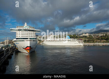 Aidaprima docked in harbor at Funchal Madiera - Stock Photo