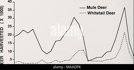 . Ecology of sympatric populations of mule deer and white-tailed deer in a prairie environment . u 1—i—i—i—i—i—i—i—i—i—i—i—i—i—i—i—i—i—i—i—i—i—i—i—i—i—I 1960 65 70 75 80 85 YEAR Fig. 4. Mule and white-tailed deer harvest trends in southeastern Montana, reported by the Montana Department of Fish, Wildlife and Parks, 1960-1986. 10 - Stock Photo