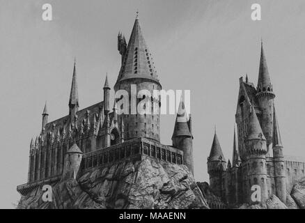 Los Angeles, California, USA -March 28, 2018: Hogwarts Castle, The Wizard World of Harry Potter in Universal Studios Hollywood at Los Angeles, CA - Stock Photo