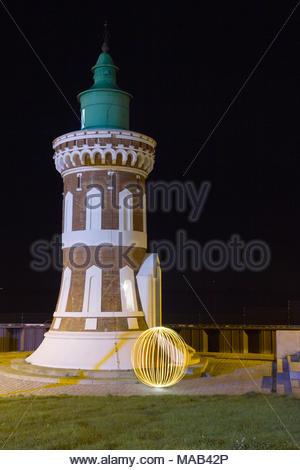 'Pingelturm' in Bremerhaven with light art - Stock Photo