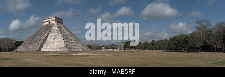 Panoramic view of the Temple of Kukulcan or El Castillo at Chichen Itza, Yucatan, Mexico - Stock Photo