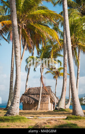 beach bungalow with thatch roof on palm tree island - wooden hut , - Stock Photo