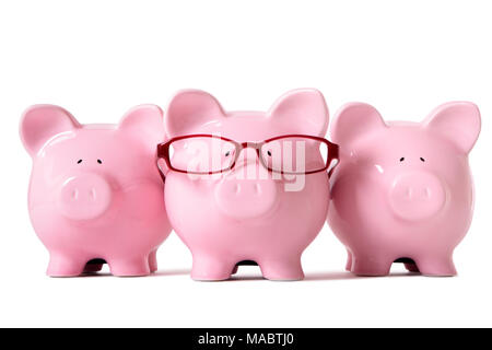 Row of three pink piggy banks, one wearing glasses, isolated on a white background. Sharp focus on middle piggy.