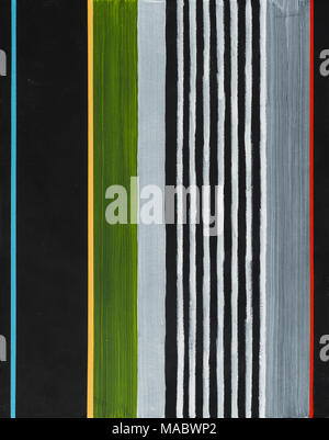 An abstract painting; colored stripes on a black background.