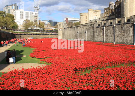 Blood Swept Lands and Seas of Red was a work of installation art placed in the moat of the Tower of London, England, 2014, UK, PETER GRANT - Stock Photo
