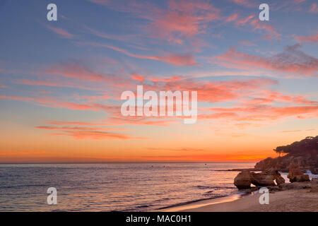Olhos d'Agua rocks sunset - Stock Photo