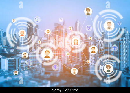 People icons network and communication concept. Double exposure of connecting people icons with cityscape at night background. - Stock Photo