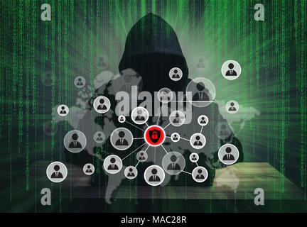 programmer hacker working on front of his laptop writing code with people icons erupt from the screen in the middle of night . - Stock Photo