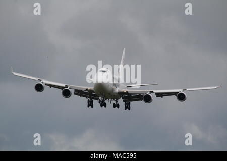 LX-ECV, a Boeing 747-4HQF operated by Cargolux Airlines, arriving at Prestwick International Airport in Ayrshire. - Stock Photo