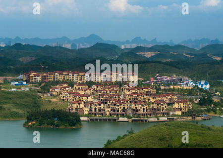 Aerial view of new development by Li River, Guilin, Guangxi, China - Stock Photo
