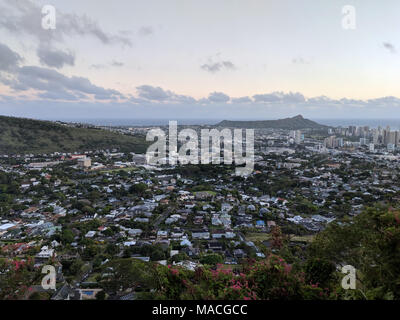 Diamondhead and the city of Honolulu, Kaimuki, Kahala, and oceanscape on Oahu on a nice day at dusk viewed from high in the mountains with tall trees  - Stock Photo