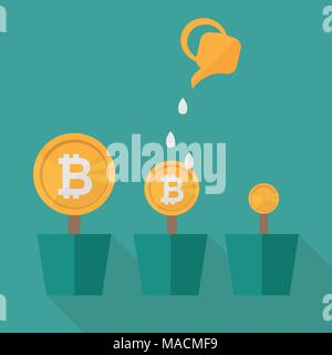 Bitcoin money flowers set with watering cans. Decorative plants in pots on a blue background. Vector illustration - Stock Photo
