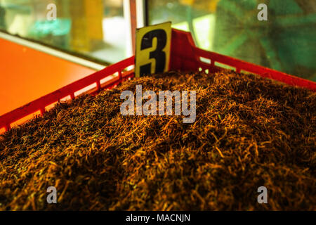 Detail of bulk Ceylon tea (orange pekoe leaves being dried) in plastic box labeled number 3, with green scenery behind windows. Kadugannawa Tea Factor - Stock Photo