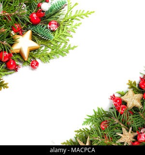 Beautiful Christmas Background with Xmas Tree Twig, Red Holly Berry and Golden Stars on White Background - Stock Photo