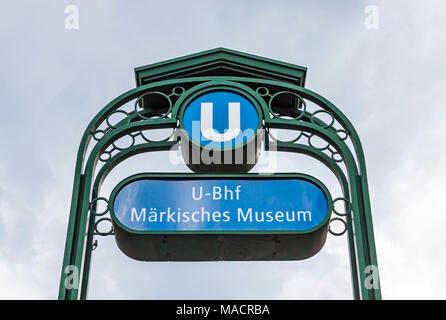 Markisches Museum U-Bahn station sign. Station located on U2 line in the Mitte district of Berlin, Germany. Named after the nearby Markisches Museum - Stock Photo