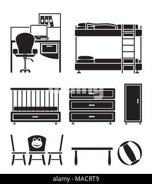 nursery and children room objects, furniture and equipment - vector illustration - Stock Photo