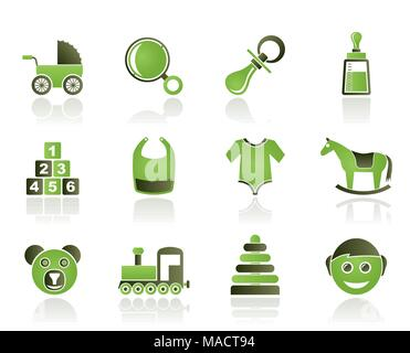 baby and children icons - vector icon set - Stock Photo