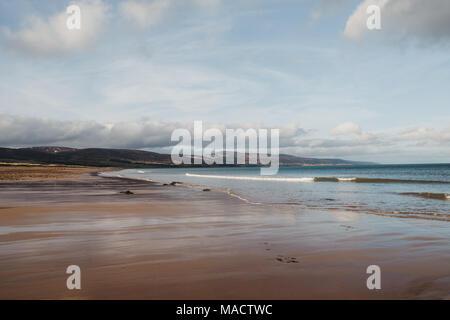 View of the award-winning mile long Brora beach, Scotland, UK. - Stock Photo