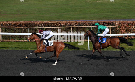 Qaysar ridden by tom marquand wins as emblazoned ridden by robert emblazoned ridden by robert havlin comes in 2nd during the commission free racing at matchbook novice stakes during the easter family fun day at kempton negle Images