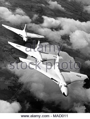 Embargoed to 0001 Sunday April 1 Undated handout photo issued by The Ministry of Defence of three Avro Vulcan B1As of the Waddington Wing in flight sometime in 1957, as a collection of images capturing the development of the RAF across the decades has been released by the MoD to mark the centenary of the worldÕs first independent air force. - Stock Photo