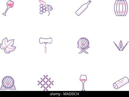 Collection of outline wine icons - Stock Photo
