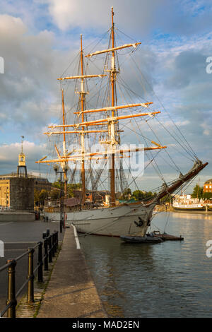 Evening sunlight over the SS Kaskelot in the harbor at Bristol, England - Stock Photo