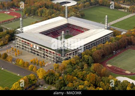 Aerial view, Territorial Energy Stadium, 1.FC Koeln, Rhein Energie Stadium, 2.Bundesliga, Cologne, Rhineland, North Rhine-Westphalia, Germany, Europe, - Stock Photo