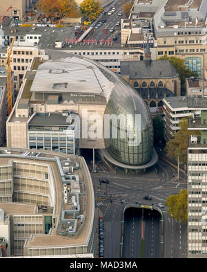 Aerial view, Weltstadthaus Cologne, Schildergasse in Cologne, Renzo Piano architect, form a stranded whale, department store fashion chain Peek & Clop - Stock Photo