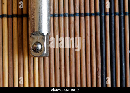 Spanner fasteners on wooden background, wrench part - Stock Photo