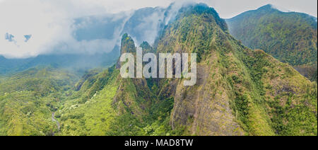 An aerial view of the Maui Iao Needle in Iao Valley State Park, Maui, Hawaii.  Four images were digitally combined to create this composite. - Stock Photo