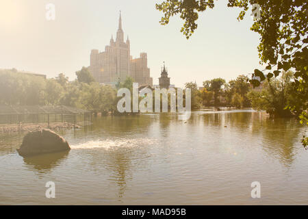 Imperial style building in Moscow. View from Moscow Zoo. - Stock Photo