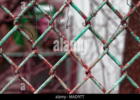 Steel vintage nets or mesh with blurry background for web site or mobile devices - Stock Photo