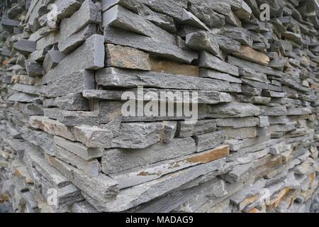 Stacked horizontal gray stone plates - Stock Photo