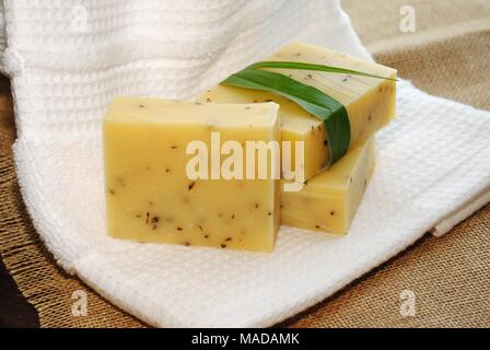 Handmade Lemongrass Herbal Soap Bars - Stock Photo