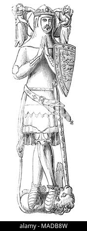 John of Eltham, 1st Earl of Cornwall (1316 – 1336) was the second son of King Edward II of England and his queen Isabella of France. He was heir to the English throne from the date of the abdication of his father (25 January 1327) to the birth of his nephew Edward, the Black Prince (15 June 1330). He was born in 1316 at Eltham Palace, Kent and caught in the throes of the war between his father, Edward II, and mother Isabella, his growing years were turbulent. He was passed between his parents and even held in the Tower of London for a time before his brother, Edward III, led a coup against the - Stock Photo