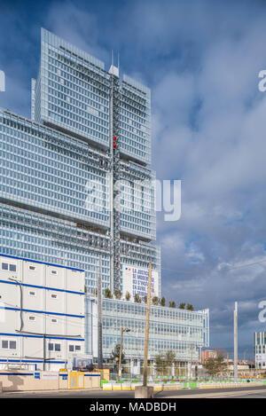 France, Paris - 31 March 2018: Paris new courthouse - Nouveau palais de justice de Paris, designed by Renzo Paino building workshop - Stock Photo