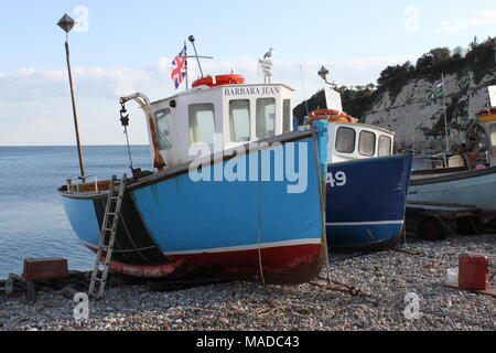 Assorted fishing vessels moored on the Jurassic pebble beach at Beer,  Devon, England, UK, PETER GRANT - Stock Photo