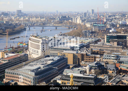View from St. Paul's Cathedral looking West towards Unilever House & Waterloo Bridge - Stock Photo