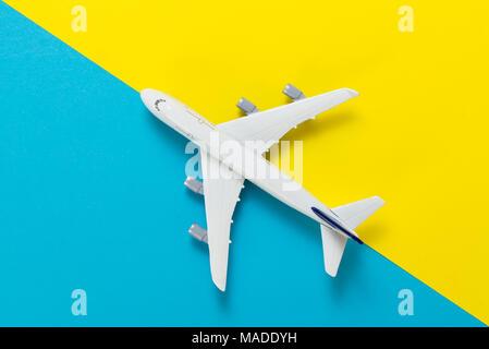 Miniature airplane travel theme - Stock Photo