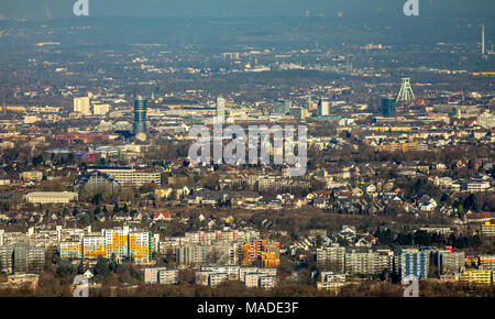 View from the University of Bochum in the city center with Exzenterturm, Courthouse and Europe house in Bochum in North Rhine Westphalia. Bochum, Ruhr - Stock Photo