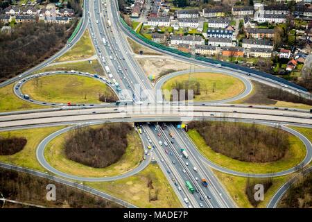 Traffic jam intersection, Essen-Nord, motorway A2 and B224, city border Essen Bottrop, in Essen, Ruhr area, North Rhine-Westphalia, Germany, Essen, Ru - Stock Photo