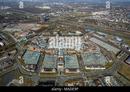 Neue Mitte Oberhausen with Centro Oberhausen, shopping mall, Konsumtempel, parking lots, in Oberhausen in North Rhine-Westphalia. Oberhausen, Ruhr are - Stock Photo