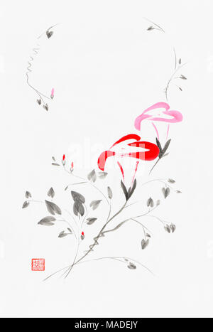 Beautiful red and pink Morning Glory flowers artistic oriental style illustration, Japanese Zen Sumi-e ink painting on white rice paper background - Stock Photo