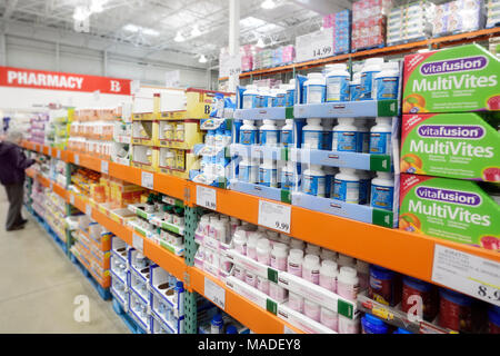 Vitamins and food supplements at Costco Wholesale membership warehouse store pharmacy section. British Columbia, Canada 2017. - Stock Photo
