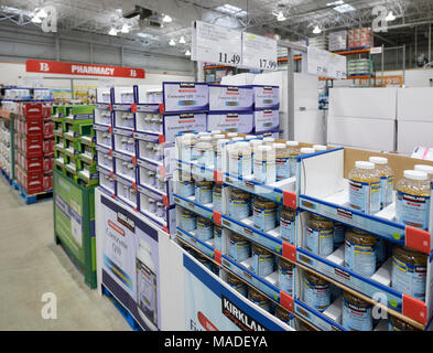 Vitamins and Kirkland brand food supplements at Costco Wholesale membership warehouse store pharmacy section. Fish oil and Coenzyme Q10 British Columb - Stock Photo
