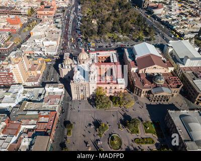 Church of Carmen, Templo de Nuestra Señora del Carmen and Alameda City Park, San Luis Potosi, Mexico - Stock Photo