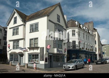 Historic 'Island House', Barbican, where the Pilgrims stayed on the night prior to  their journey in the Mayflower to America 1620. - Stock Photo